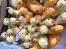 Easter Saturday: Handing out knitted chicks on the high street
